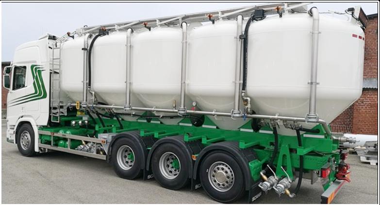 Kundanpassade tankarför flexibla foder-och mjöltransporter